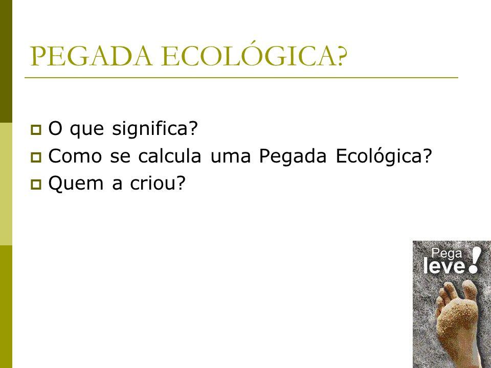 PEGADA ECOLÓGICA O que significa Como se calcula uma Pegada Ecológica Quem a criou