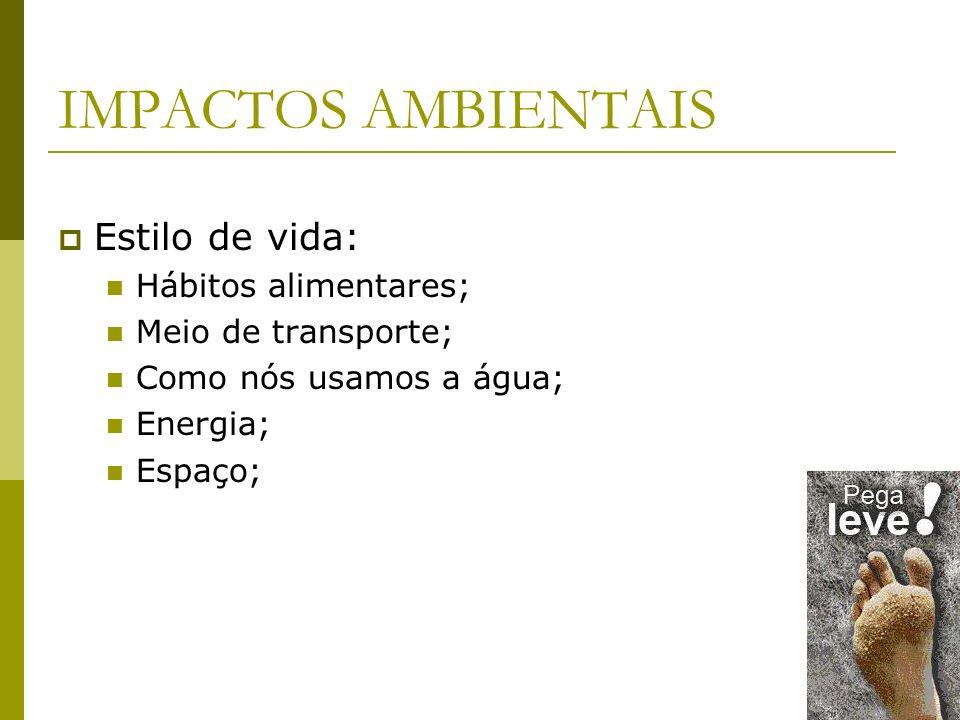 IMPACTOS AMBIENTAIS Estilo de vida: Hábitos alimentares; Meio de transporte; Como nós usamos a água; Energia; Espaço;
