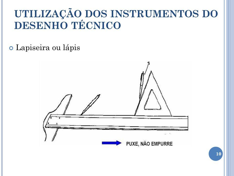 Lapiseira ou lápis UTILIZAÇÃO DOS INSTRUMENTOS DO DESENHO TÉCNICO 10