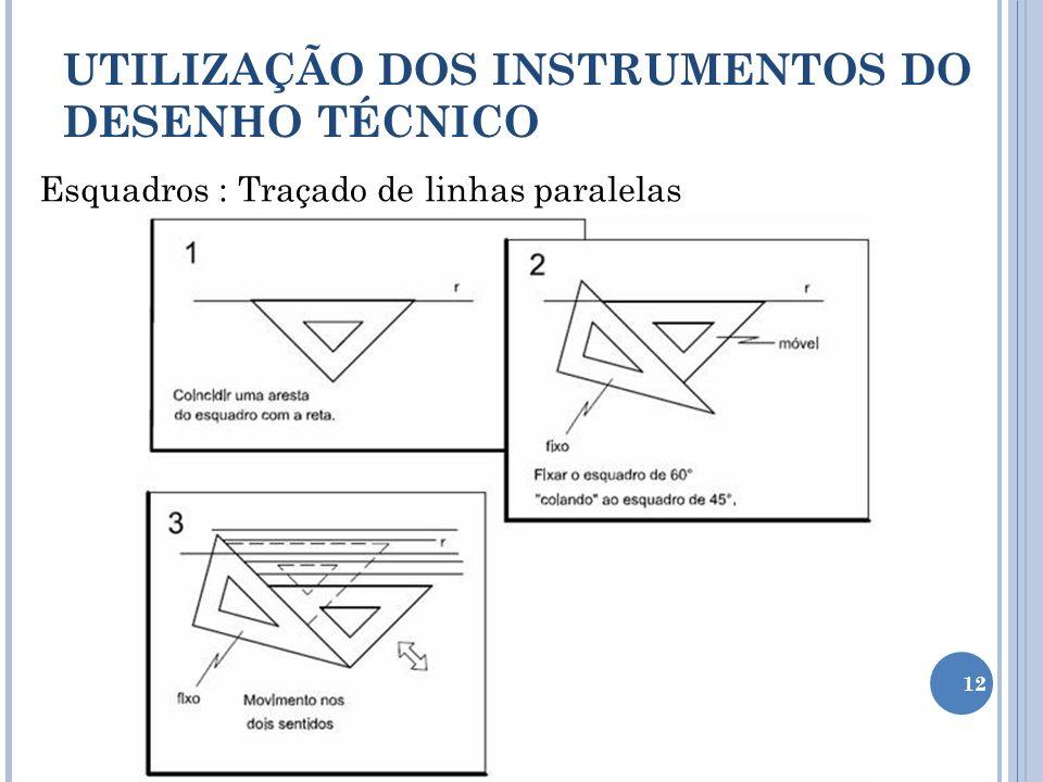 Esquadros : Traçado de linhas paralelas UTILIZAÇÃO DOS INSTRUMENTOS DO DESENHO TÉCNICO 12
