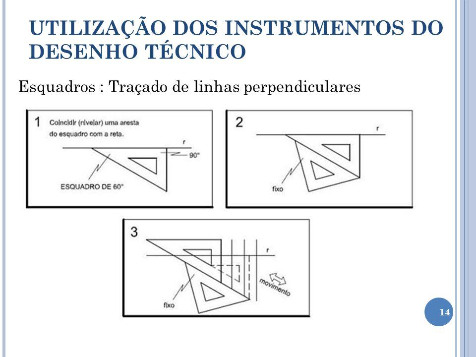 Esquadros : Traçado de linhas perpendiculares UTILIZAÇÃO DOS INSTRUMENTOS DO DESENHO TÉCNICO 14