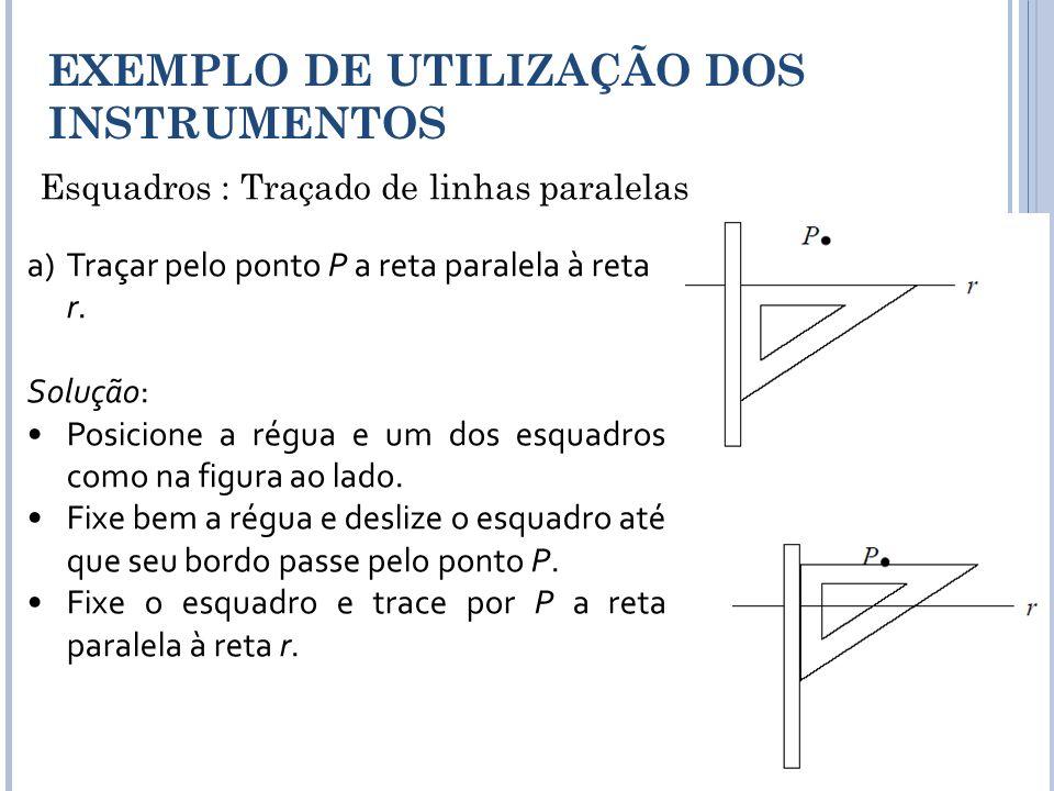 Esquadros : Traçado de linhas paralelas EXEMPLO DE UTILIZAÇÃO DOS INSTRUMENTOS a)Traçar pelo ponto P a reta paralela à reta r. Solução: Posicione a ré