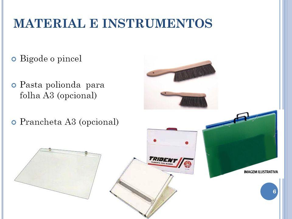 Bigode o pincel Pasta polionda para folha A3 (opcional) Prancheta A3 (opcional) MATERIAL E INSTRUMENTOS 6