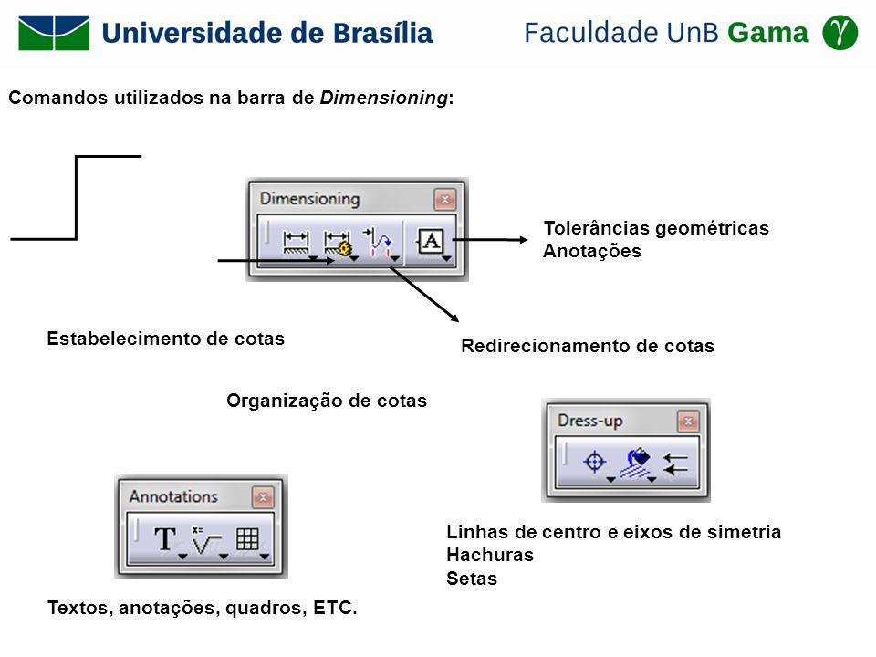 Comandos utilizados na barra de Dimensioning: Estabelecimento de cotas Organização de cotas Redirecionamento de cotas Tolerâncias geométricas Anotaçõe