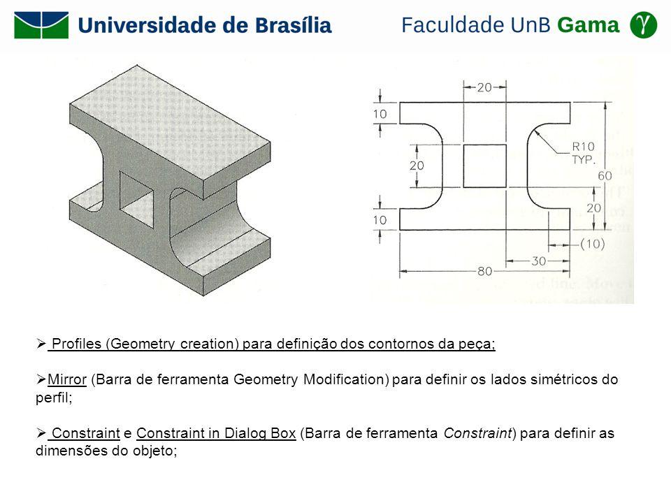 Profiles (Geometry creation) para definição dos contornos da peça; Mirror (Barra de ferramenta Geometry Modification) para definir os lados simétricos