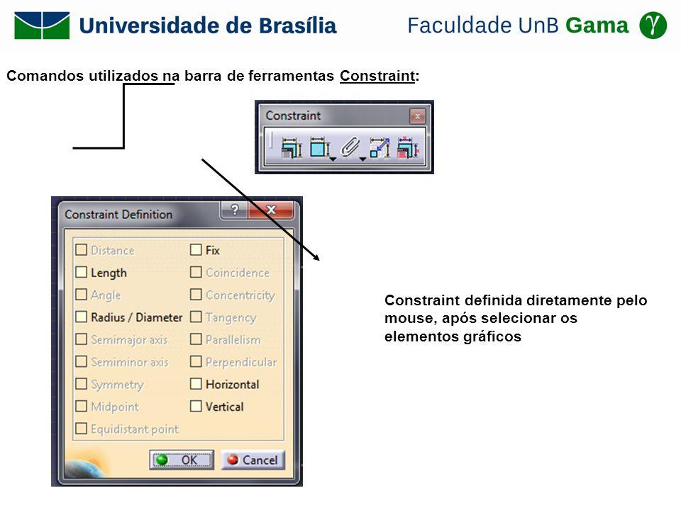 Comandos utilizados na barra de ferramentas Constraint: Constraint definida diretamente pelo mouse, após selecionar os elementos gráficos