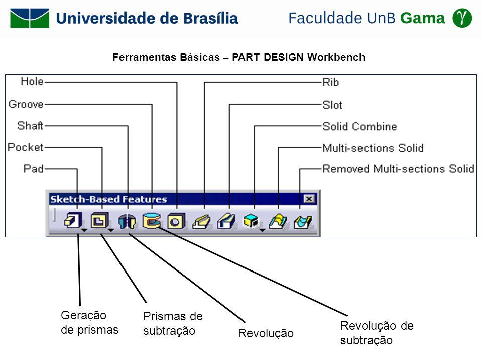 Ferramentas Básicas – PART DESIGN Workbench Geração de prismas Prismas de subtração Revolução Revolução de subtração