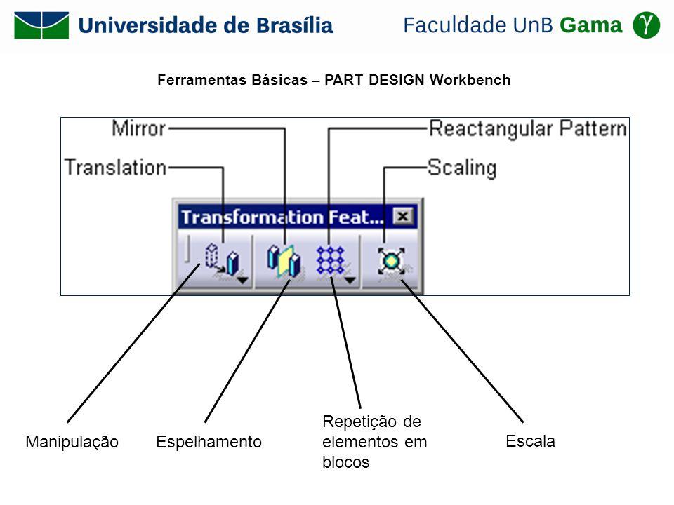 Profile (Barra de ferramenta Profile) Circle (Barra de ferramenta Profile) Profile (Barra de ferramenta Profile) Constraint e Constraint in Dialog Box (Barra de ferramenta Constraint) para definir as dimensões do objeto; Pad (Barra de ferramentas Sketch-Based Features) para gerar o sólido;
