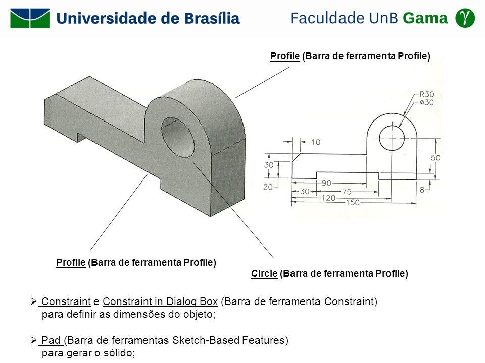 Profile (Barra de ferramenta Profile) Circle (Barra de ferramenta Profile) Profile (Barra de ferramenta Profile) Constraint e Constraint in Dialog Box