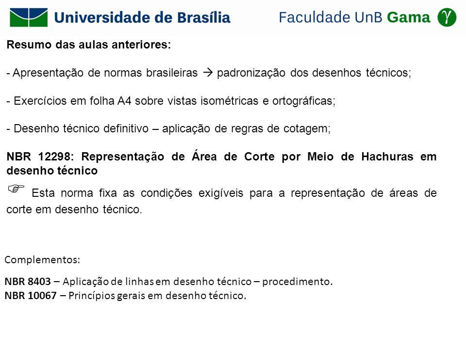 Resumo das aulas anteriores: - Apresentação de normas brasileiras padronização dos desenhos técnicos; - Exercícios em folha A4 sobre vistas isométrica