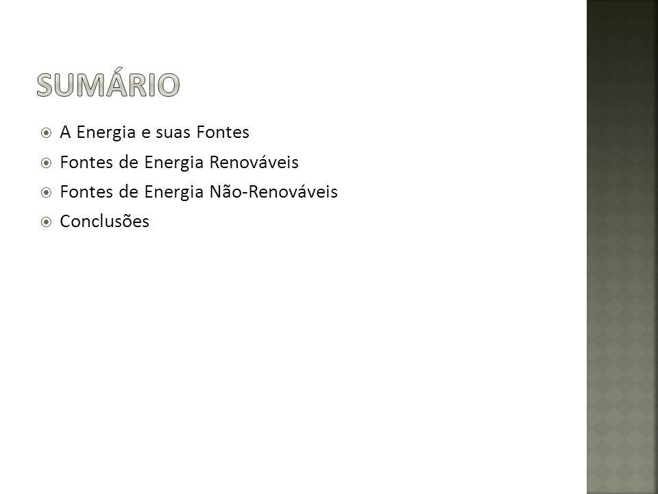 A Energia e suas Fontes Fontes de Energia Renováveis Fontes de Energia Não-Renováveis Conclusões