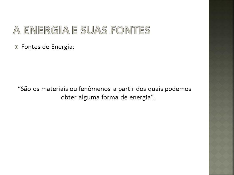 Fontes de Energia: São os materiais ou fenômenos a partir dos quais podemos obter alguma forma de energia.