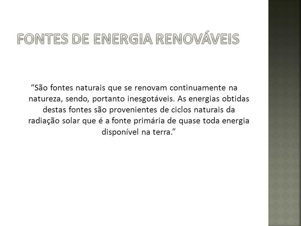 São fontes naturais que se renovam continuamente na natureza, sendo, portanto inesgotáveis.