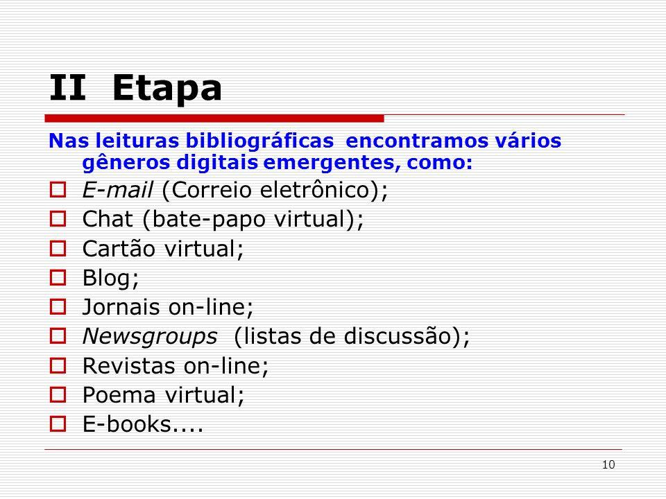 10 II Etapa Nas leituras bibliográficas encontramos vários gêneros digitais emergentes, como: E-mail (Correio eletrônico); Chat (bate-papo virtual); Cartão virtual; Blog; Jornais on-line; Newsgroups (listas de discussão); Revistas on-line; Poema virtual; E-books....