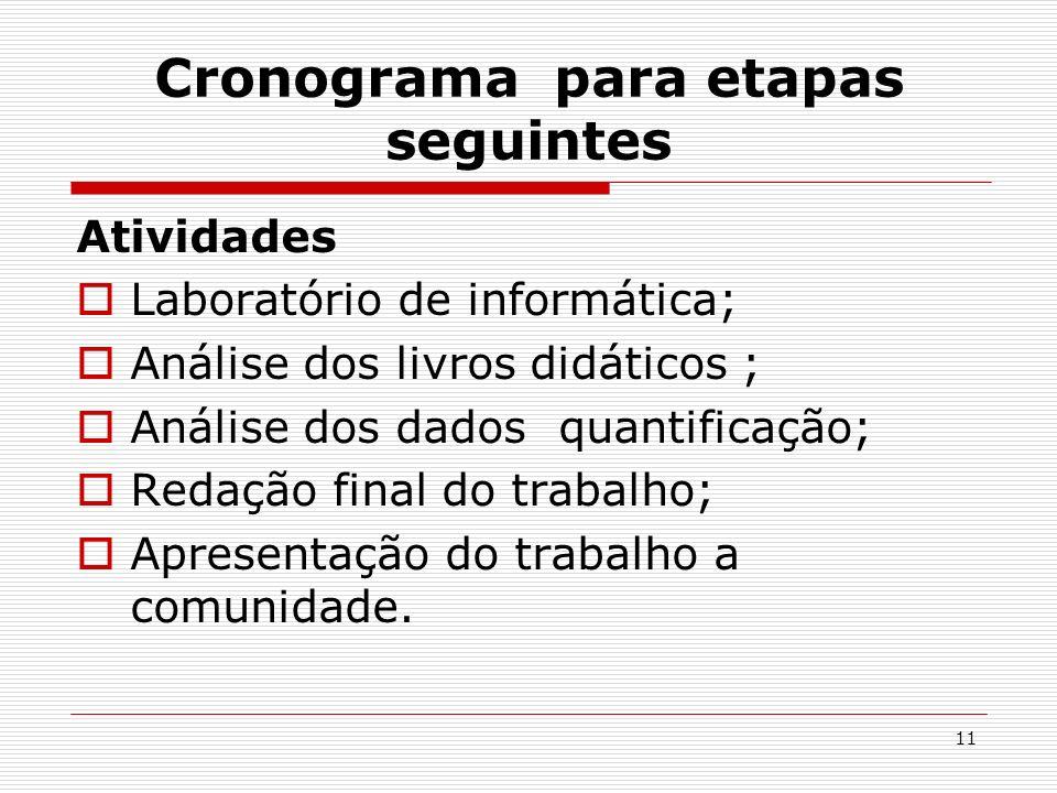 11 Cronograma para etapas seguintes Atividades Laboratório de informática; Análise dos livros didáticos ; Análise dos dados quantificação; Redação fin