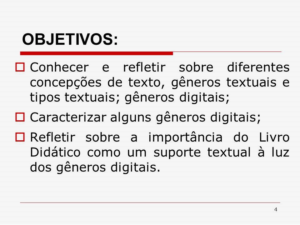 4 OBJETIVOS: Conhecer e refletir sobre diferentes concepções de texto, gêneros textuais e tipos textuais; gêneros digitais; Caracterizar alguns gêneros digitais; Refletir sobre a importância do Livro Didático como um suporte textual à luz dos gêneros digitais.