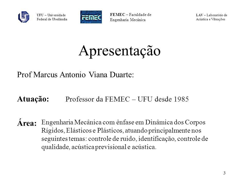LAV – Laboratório de Acústica e Vibrações UFU – Universidade Federal de Uberlândia FEMEC – Faculdade de Engenharia Mecânica 3 Apresentação Prof Marcus