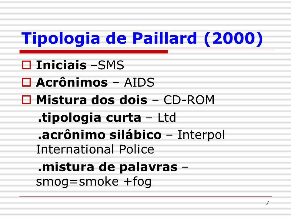 7 Tipologia de Paillard (2000) Iniciais –SMS Acrônimos – AIDS Mistura dos dois – CD-ROM.tipologia curta – Ltd.acrônimo silábico – Interpol Internation