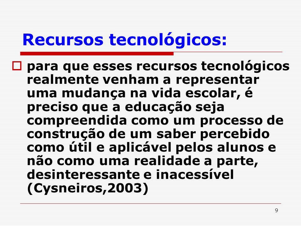 9 Recursos tecnológicos: para que esses recursos tecnológicos realmente venham a representar uma mudança na vida escolar, é preciso que a educação sej