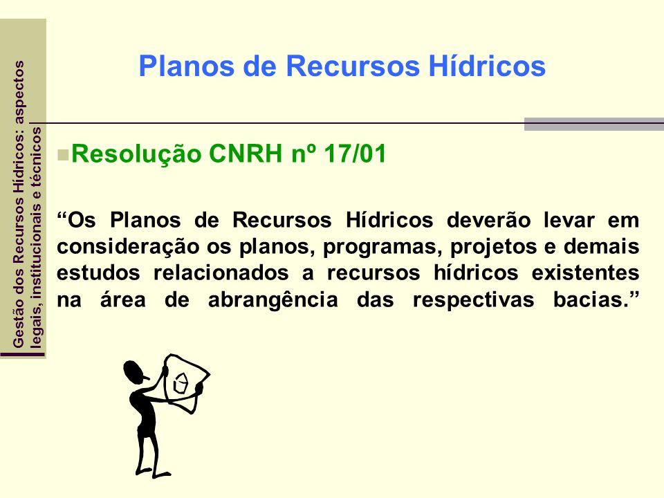 Gestão dos Recursos Hídricos: aspectoslegais, institucionais e técnicos Planos de Recursos Hídricos Resolução CNRH nº 17/01 Os Planos de Recursos Hídr