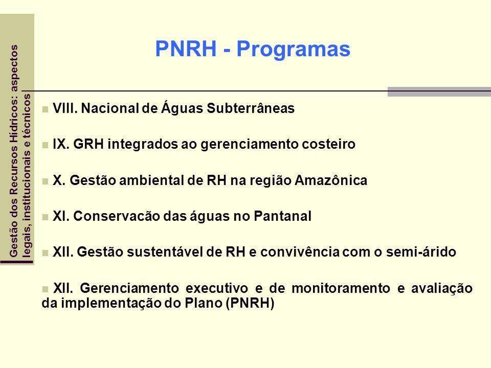 Gestão dos Recursos Hídricos: aspectoslegais, institucionais e técnicos PNRH - Programas VIII. Nacional de Águas Subterrâneas IX. GRH integrados ao ge