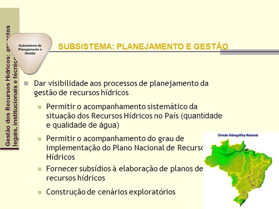 Gestão dos Recursos Hídricos: aspectoslegais, institucionais e técnicos Dar visibilidade aos processos de planejamento da gestão de recursos hídricos