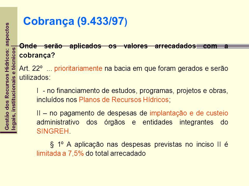 Gestão dos Recursos Hídricos: aspectoslegais, institucionais e técnicos Onde serão aplicados os valores arrecadados com a cobrança? Art. 22º... priori