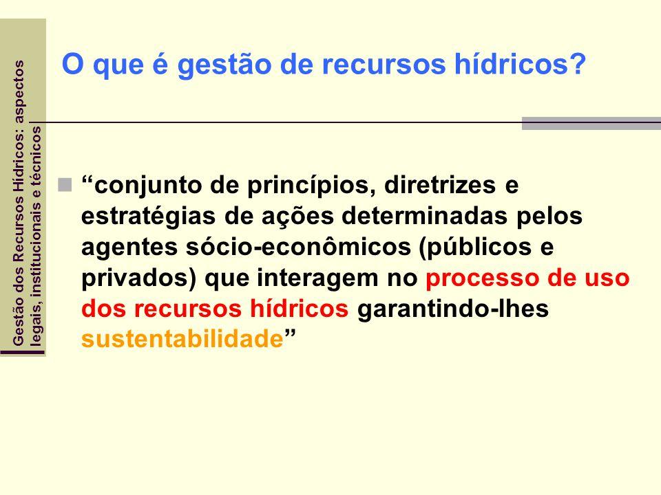 Gestão dos Recursos Hídricos: aspectoslegais, institucionais e técnicos O que é gestão de recursos hídricos? conjunto de princípios, diretrizes e estr