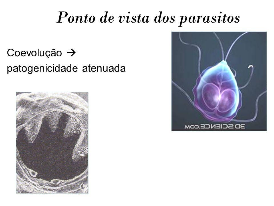 Ponto de vista dos parasitos Coevolução patogenicidade atenuada