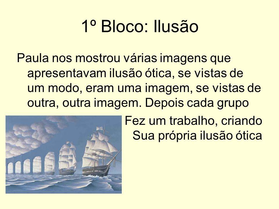1º Bloco: Ilusão Paula nos mostrou várias imagens que apresentavam ilusão ótica, se vistas de um modo, eram uma imagem, se vistas de outra, outra imagem.