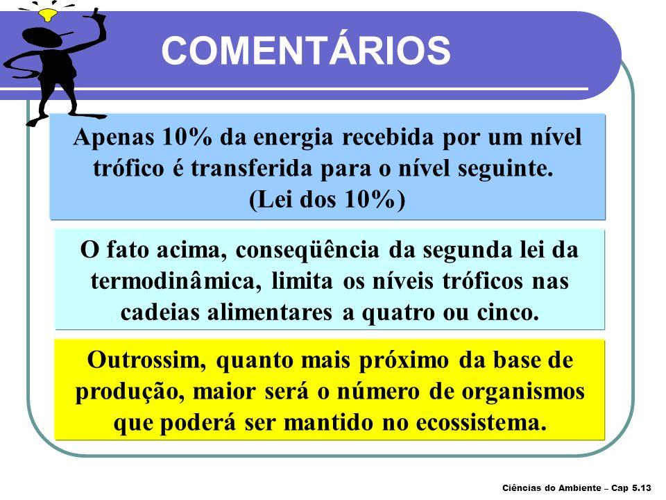 O fato acima, conseqüência da segunda lei da termodinâmica, limita os níveis tróficos nas cadeias alimentares a quatro ou cinco. Apenas 10% da energia