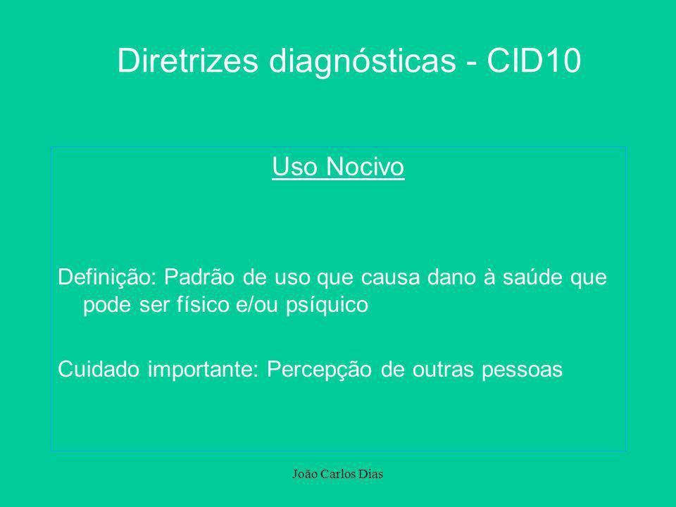 João Carlos Dias Diretrizes diagnósticas - CID10 Uso Nocivo Definição: Padrão de uso que causa dano à saúde que pode ser físico e/ou psíquico Cuidado