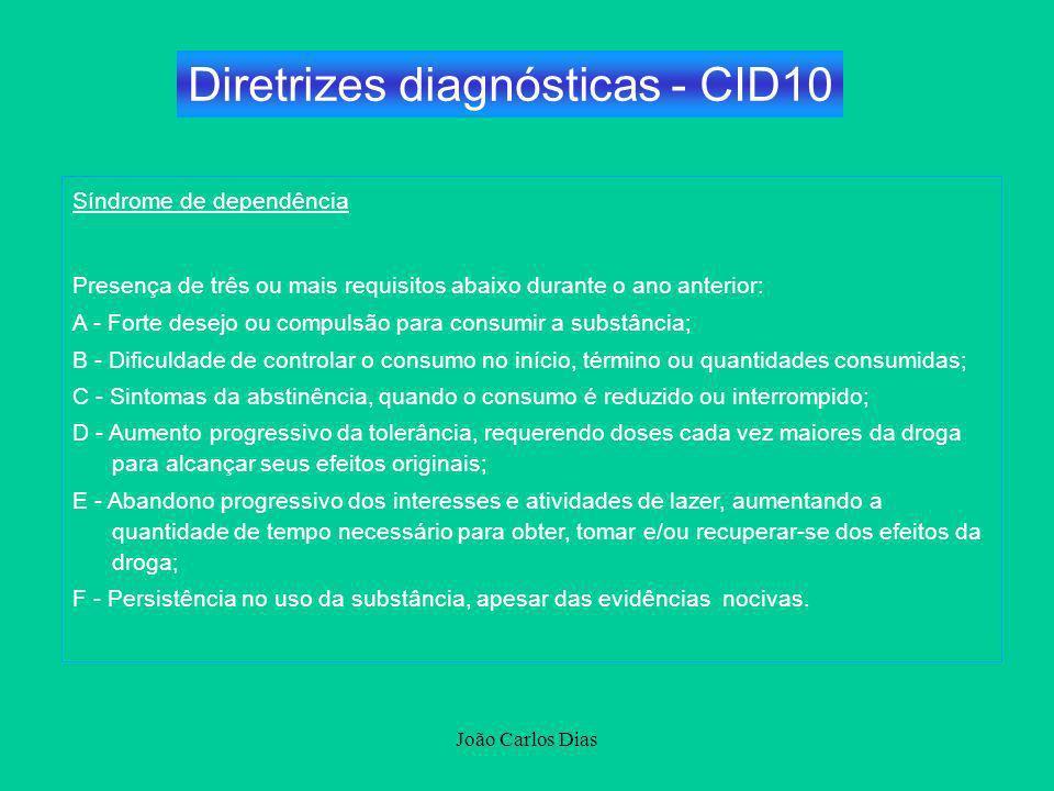 João Carlos Dias Síndrome de dependência Presença de três ou mais requisitos abaixo durante o ano anterior: A - Forte desejo ou compulsão para consumi
