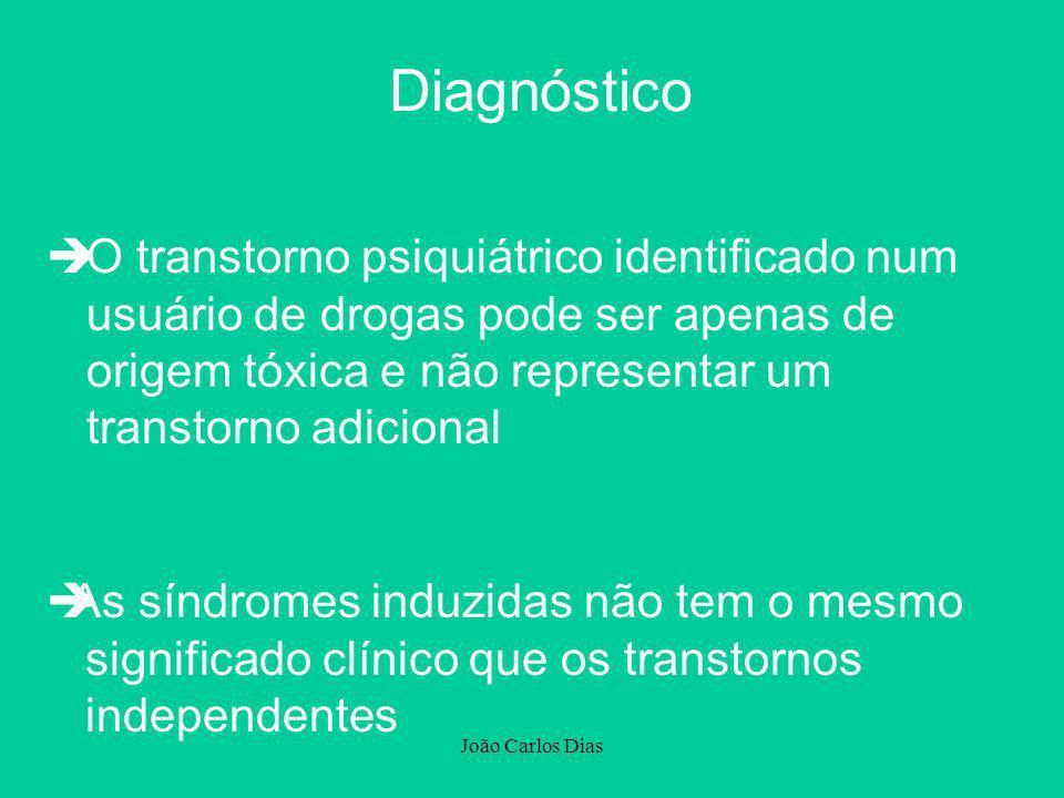 João Carlos Dias Diagnóstico èO transtorno psiquiátrico identificado num usuário de drogas pode ser apenas de origem tóxica e não representar um trans