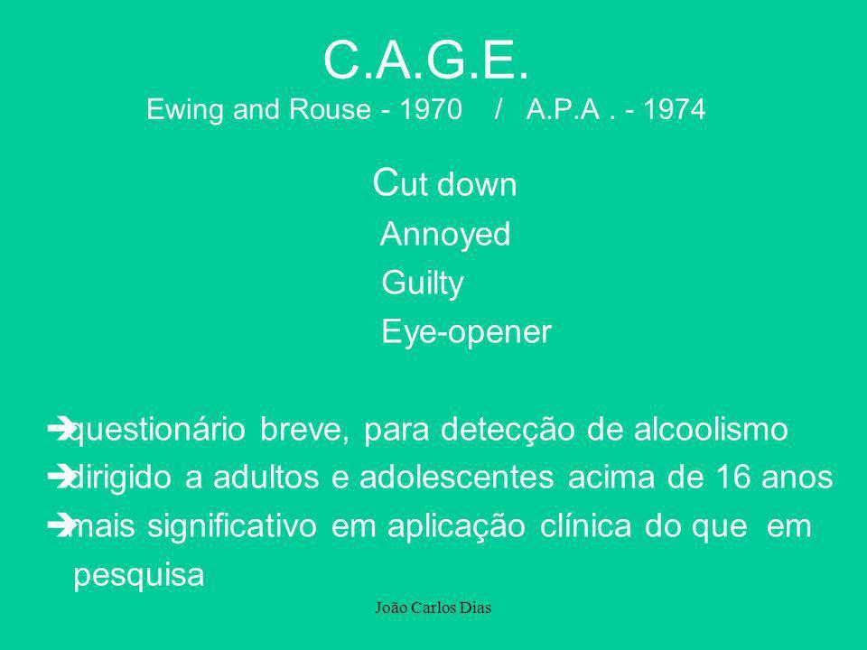 João Carlos Dias C.A.G.E. Ewing and Rouse - 1970 / A.P.A. - 1974 C ut down Annoyed Guilty Eye-opener èquestionário breve, para detecção de alcoolismo