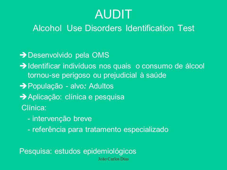 João Carlos Dias èDesenvolvido pela OMS èIdentificar indivíduos nos quais o consumo de álcool tornou-se perigoso ou prejudicial à saúde èPopulação - a