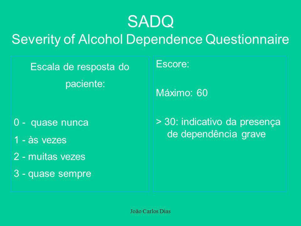 João Carlos Dias Escala de resposta do paciente: 0 - quase nunca 1 - às vezes 2 - muitas vezes 3 - quase sempre Escore: Máximo: 60 > 30: indicativo da