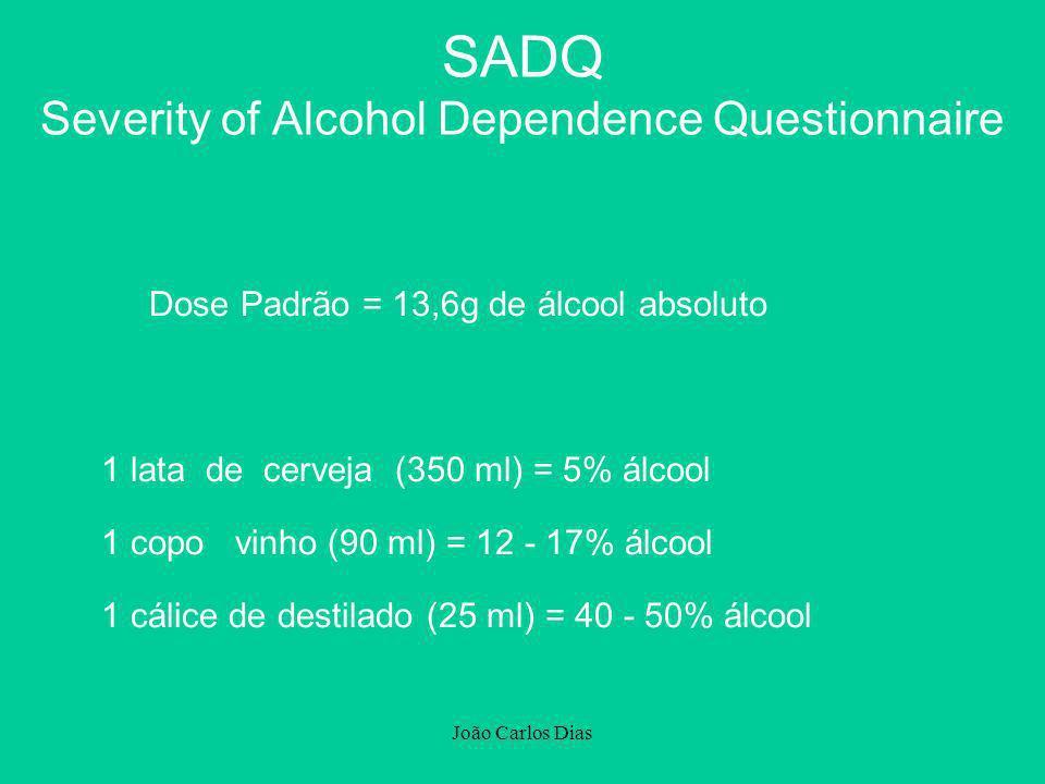 João Carlos Dias Dose Padrão = 13,6g de álcool absoluto 1 lata de cerveja (350 ml) = 5% álcool 1 copo vinho (90 ml) = 12 - 17% álcool 1 cálice de dest