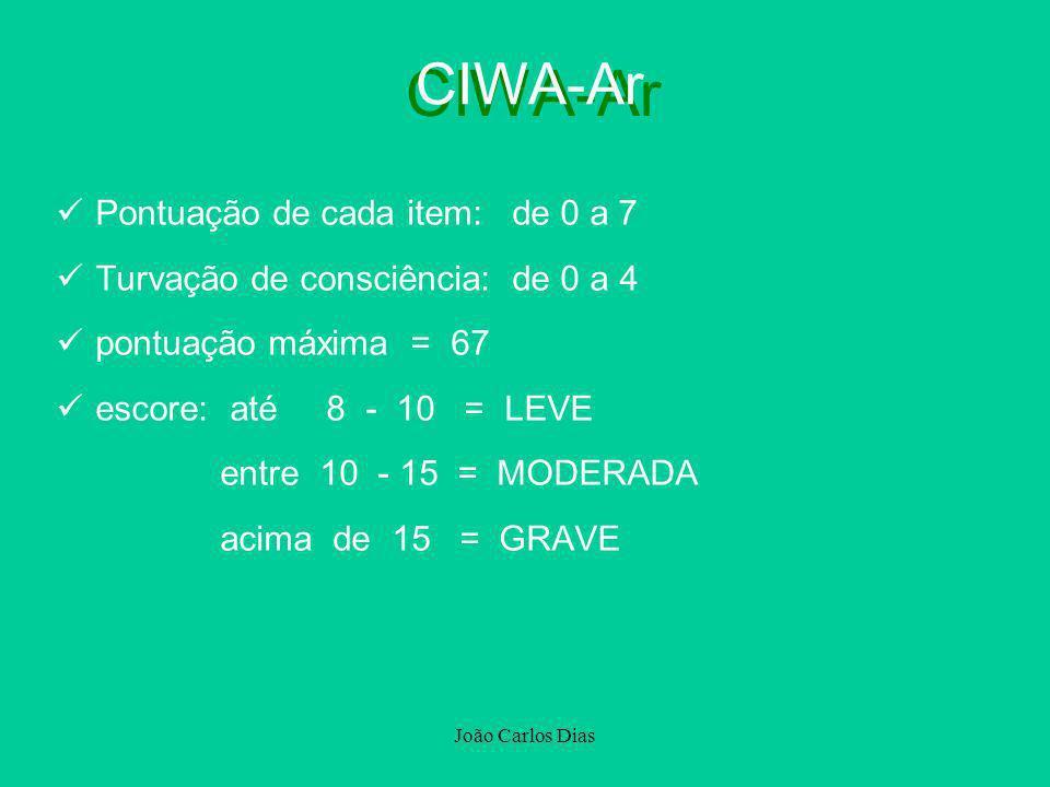 João Carlos Dias CIWA-Ar Pontuação de cada item: de 0 a 7 Turvação de consciência: de 0 a 4 pontuação máxima = 67 escore: até 8 - 10 = LEVE entre 10 -