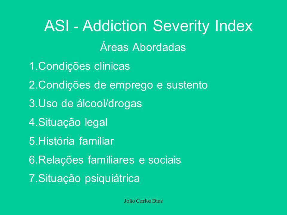 João Carlos Dias ASI - Addiction Severity Index Áreas Abordadas 1.Condições clínicas 2.Condições de emprego e sustento 3.Uso de álcool/drogas 4.Situaç