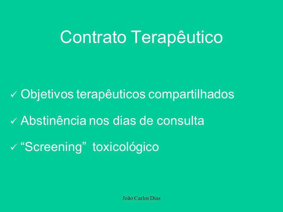João Carlos Dias Contrato Terapêutico Objetivos terapêuticos compartilhados Abstinência nos dias de consulta Screening toxicológico