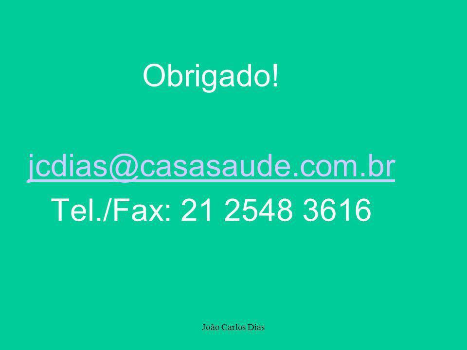 João Carlos Dias Obrigado! jcdias@casasaude.com.br Tel./Fax: 21 2548 3616