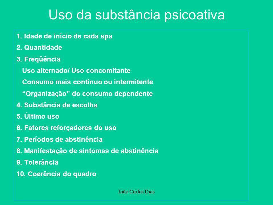 João Carlos Dias Escala de resposta do paciente: 0 - quase nunca 1 - às vezes 2 - muitas vezes 3 - quase sempre Escore: Máximo: 60 > 30: indicativo da presença de dependência grave SADQ Severity of Alcohol Dependence Questionnaire