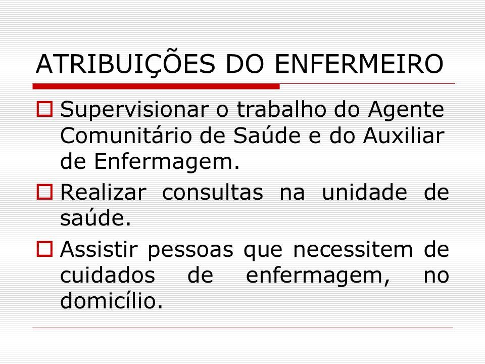 ATRIBUIÇÕES DO AUXILIAR DE ENFERMAGEM Realizar procedimentos de enfermagem na unidade básica de saúde e no domicílio.