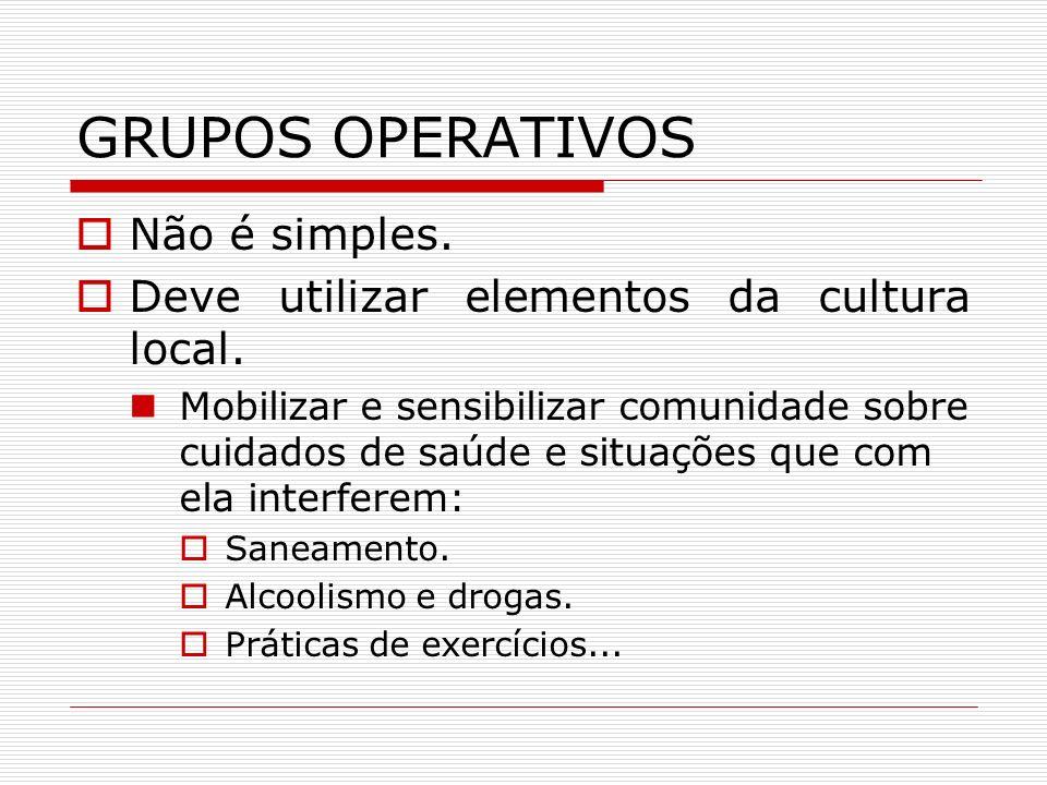 METODOLOGIA PARA GRUPOS OPERATIVOS Teatro, vídeos, literatura de cordel.