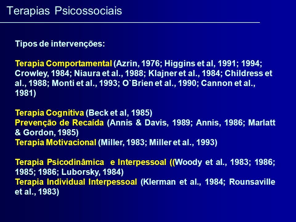 Tipos de intervenções: Terapia Comportamental (Azrin, 1976; Higgins et al, 1991; 1994; Crowley, 1984; Niaura et al., 1988; Klajner et al., 1984; Child