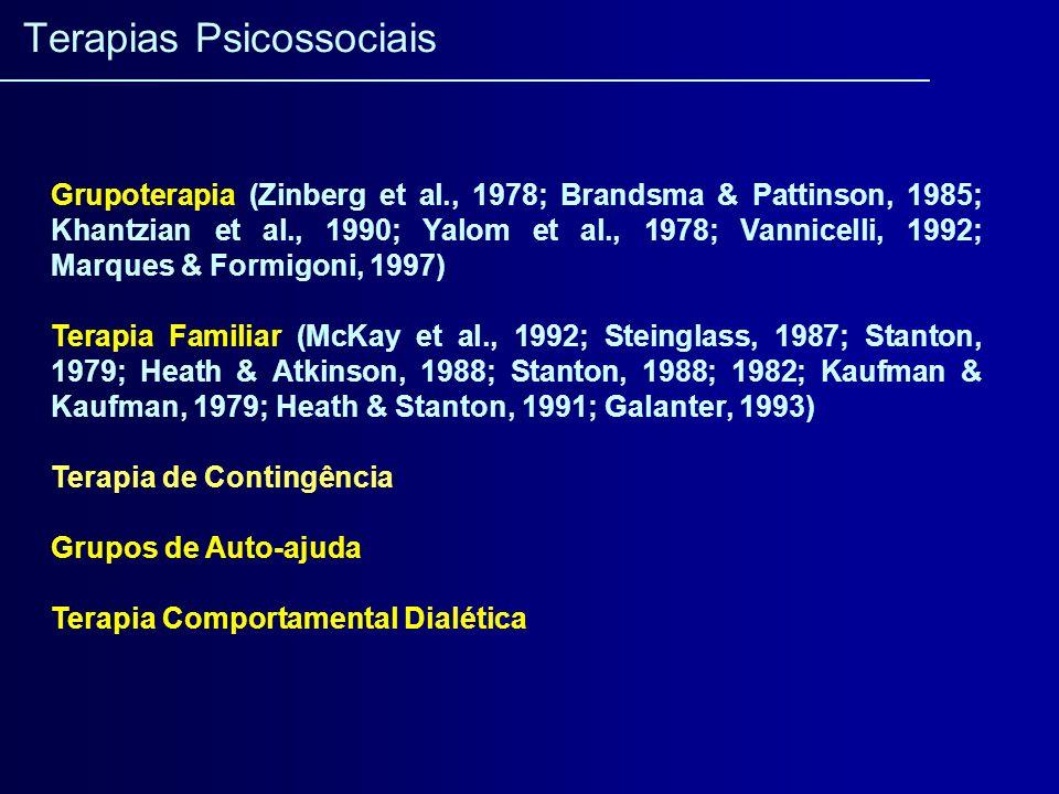 Grupoterapia (Zinberg et al., 1978; Brandsma & Pattinson, 1985; Khantzian et al., 1990; Yalom et al., 1978; Vannicelli, 1992; Marques & Formigoni, 199