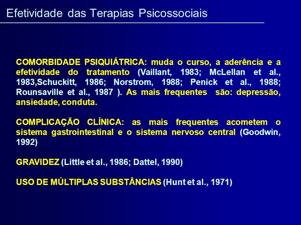 COMORBIDADE PSIQUIÁTRICA: muda o curso, a aderência e a efetividade do tratamento (Vaillant, 1983; McLellan et al., 1983,Schuckitt, 1986; Norstrom, 19