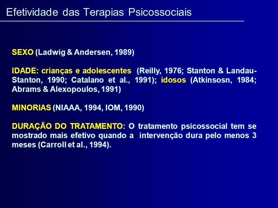 SEXO (Ladwig & Andersen, 1989) IDADE: crianças e adolescentes (Reilly, 1976; Stanton & Landau- Stanton, 1990; Catalano et al., 1991); idosos (Atkinsos