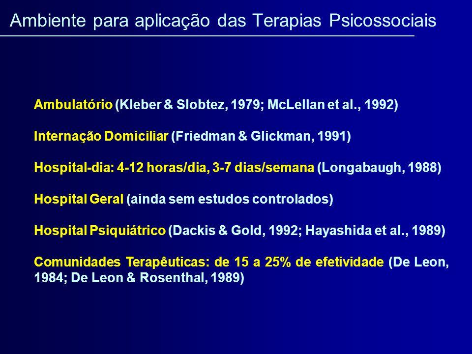 Ambulatório (Kleber & Slobtez, 1979; McLellan et al., 1992) Internação Domiciliar (Friedman & Glickman, 1991) Hospital-dia: 4-12 horas/dia, 3-7 dias/s